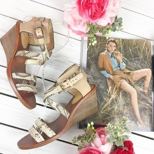 Coach Prue Snake Embossed Leather Sandals
